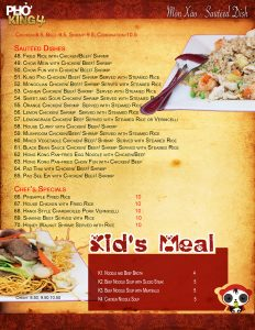 Davis CA Family Restaurant | Pho King 4 page4 2019 web